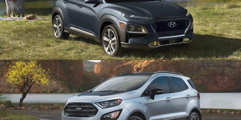 comparaison entre le Ford EcoSport 2021 vs Hyundai Kona 2021 couleur grise