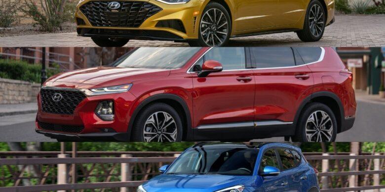 les 3 meilleurs voitures pour adolescents, Sonata 2020 jaune, Santa Fe 2020 rouge et le Tucson 2017 bleu