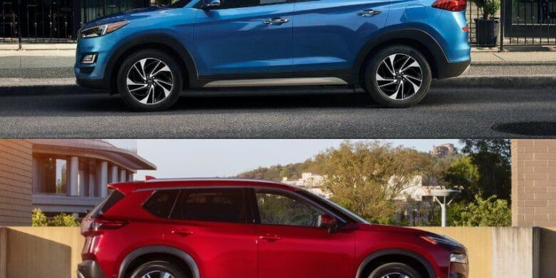 comparaison entre Hyundai Tucson 2021 bleu et Nissan Rogue 2021 rouge